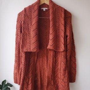 Rust orange open front long line knit cardigan
